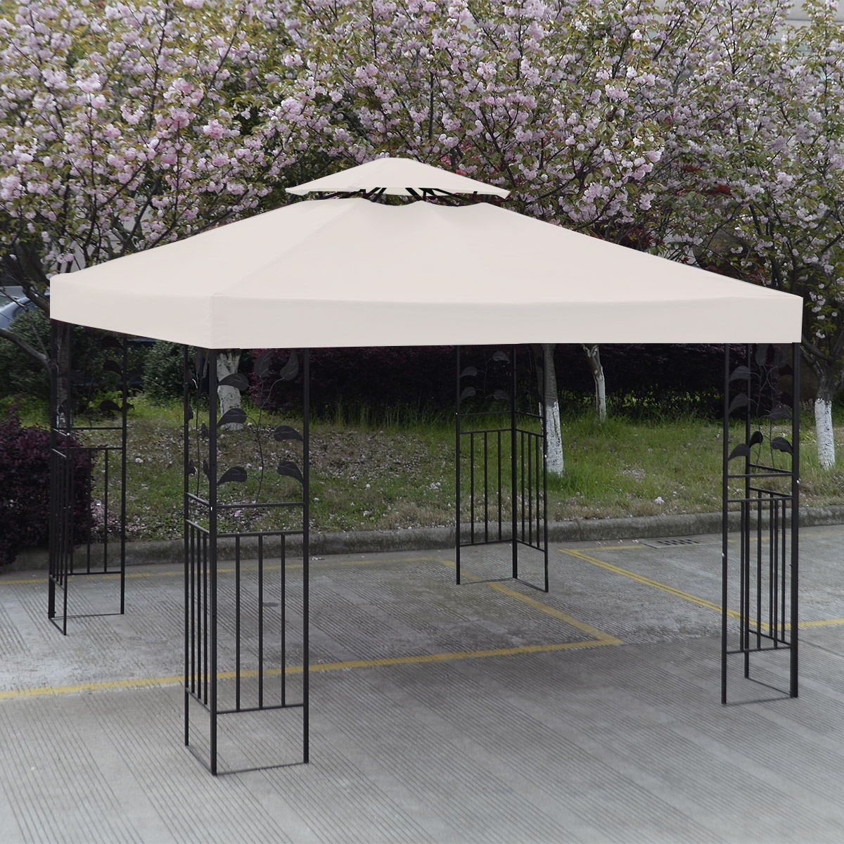 3Mx3M Gazebo Roof Top Cover Patio Canopy Replacement Cream 2 Tier