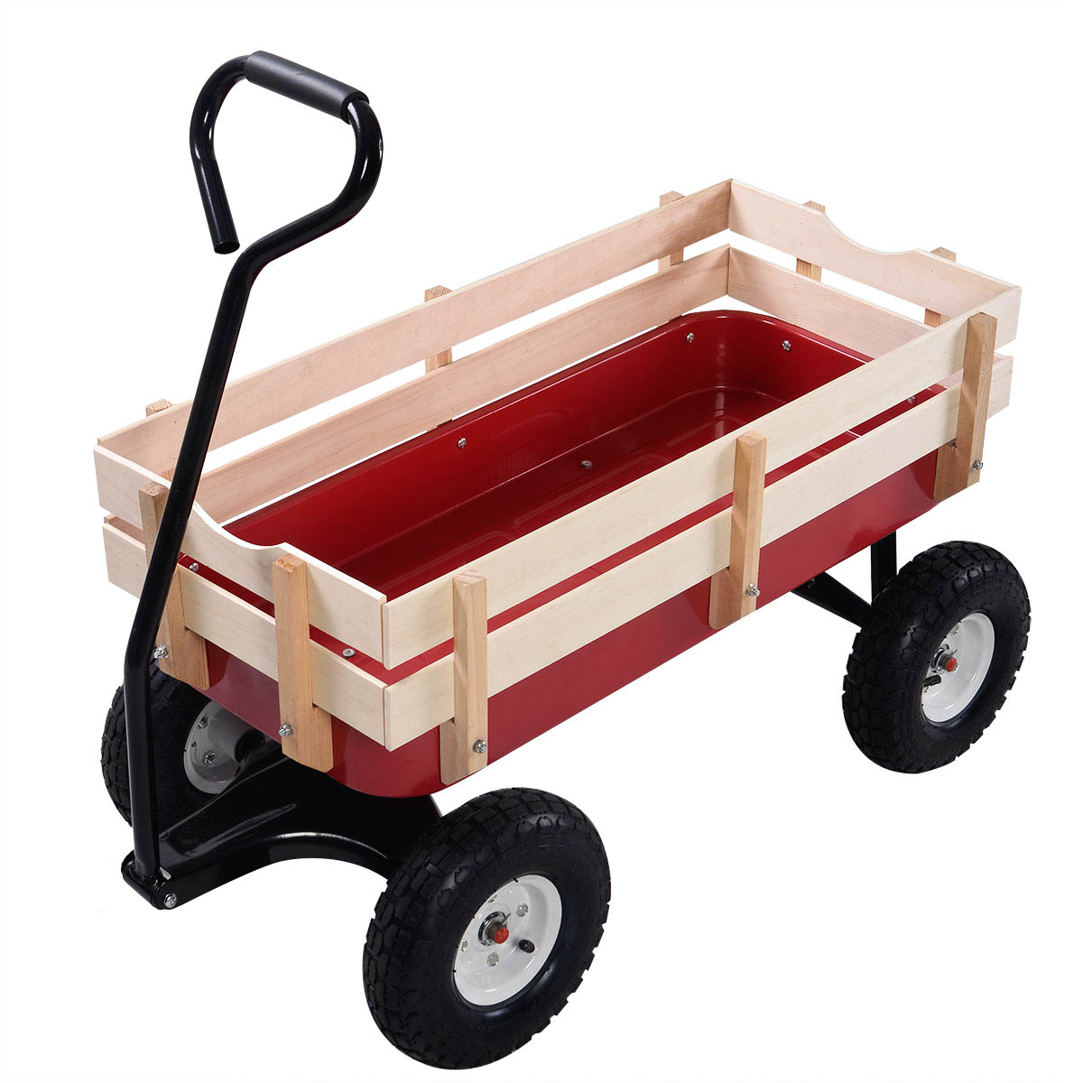 Garden Wagon with Wooden Railings