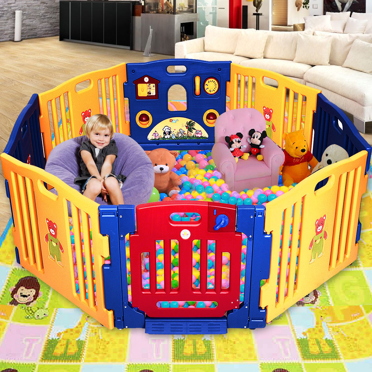 8 Panel Large Foldable Baby Kids Play Pens Playpen Room Divider Educational  Toys   Play Yards   Baby Toys U0026 Activity Equipment   Baby U0026 Toddler