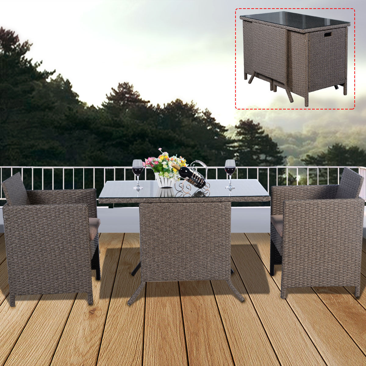 Fine 3Pc Rattan Garden Bistro Set Cafe Tea Breakfast Chair Table Set Patio Cushions Download Free Architecture Designs Parabritishbridgeorg